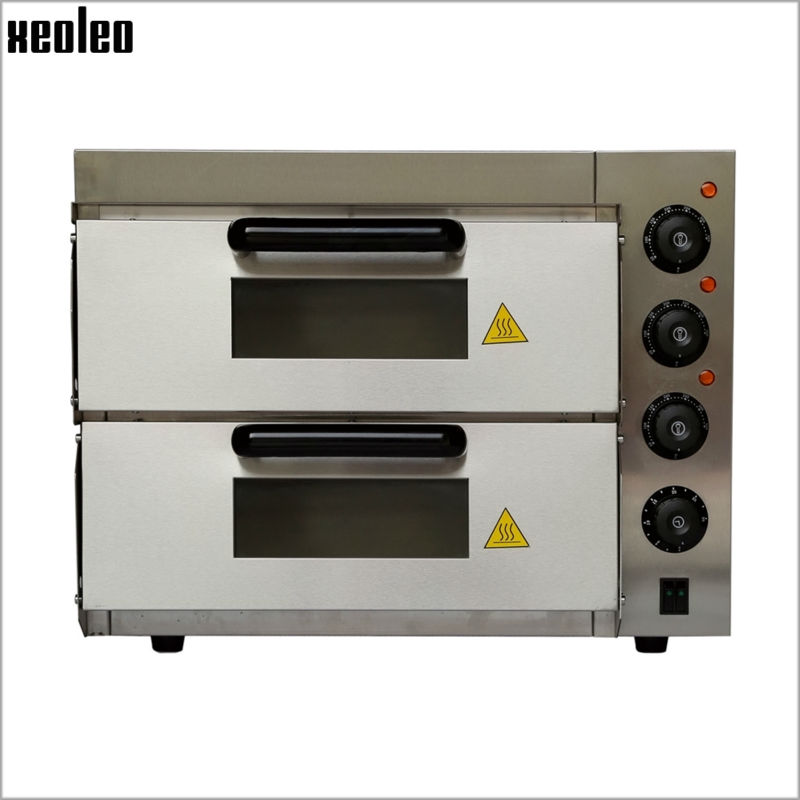 xeoleo commercial electric pizza oven 3000w220v double horizontal pizza stove stainless steel hot plate - Commercial Pizza Oven