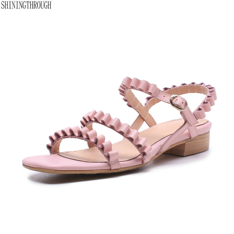 Genuine Leather Women Sandals 2cm square heels girl sandals black pink sweet single casual summer shoes size 2 3 9 10 11 12 цена и фото