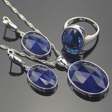 Nuevas Mujeres 925 Sterling Silver Jewelry Sets Bule Creado Tanzanita Zafiro Astilla Pendientes/Colgante/Collar/Anillos de Envío Caja de regalo
