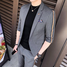 Jacket+pant Summer Half Sleeve Casual Business Men Suit Seven Sleeve Nine-point Pants Slim Fit 2 Piece Set Groom Dress Suits 3XL(China)