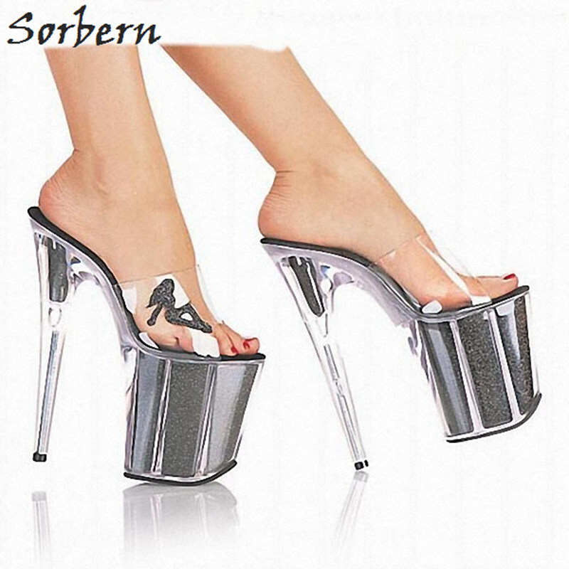 цена Sorbern Clear Pvc Women Slippers Outdoor Slides Ladies 20Cm Extrem High Heels Transparent Heel Platforms Open Toe Plastic Slides