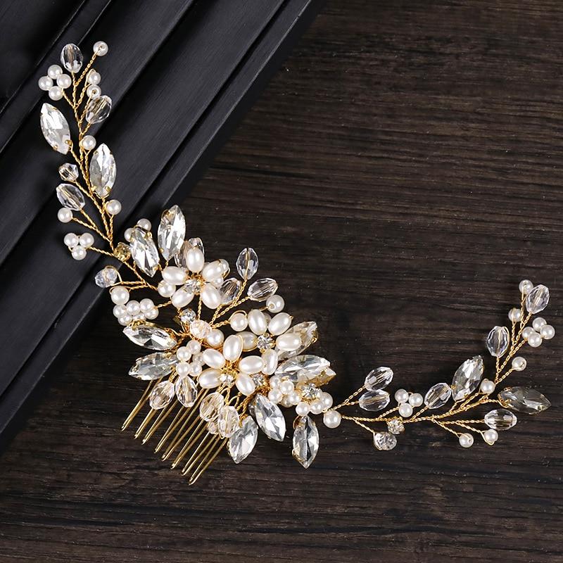 Headbands Comb Hair-Accessories Headpiece Rhinestone Crystal Bridal-Hair Wedding Girls