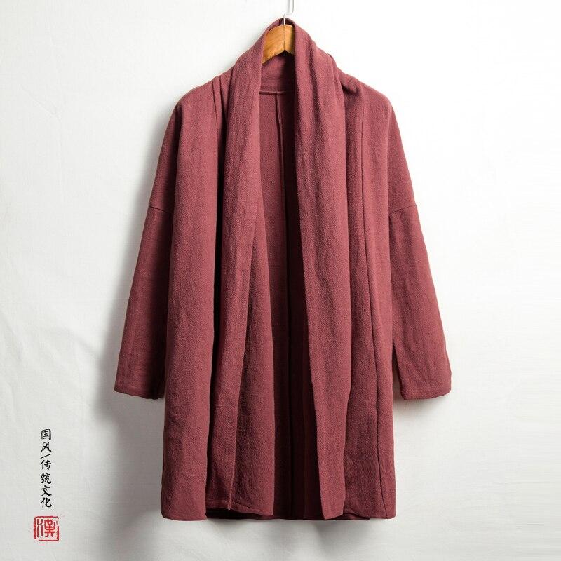 Мужские кимоно кардиган пальто Для мужчин высокая qualiyt хлопок белье длинная куртка Китай Стиль Kongfu пальто