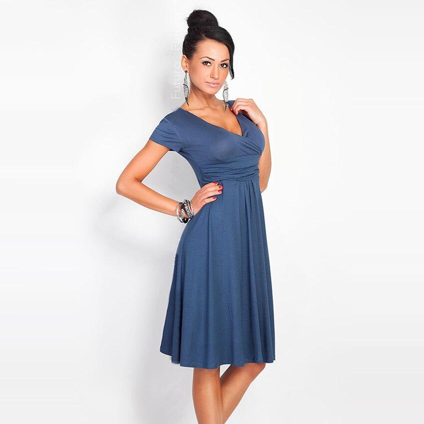 14292a3a26b 7 color S-XXL 2016 fashion design Western women pleated dress deep V-neck  lady sexy vestidos girls summer dresses drop shipping