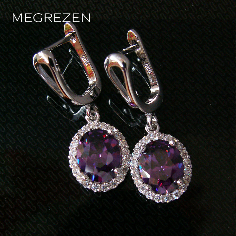 Vintage Style Silver Earrings With Amethyst For Women Purple Crystal Earings Fashion Jewelry 2016 Brincos De Festa Compridos 003