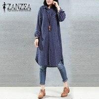 ZANZEA 2018 Autumn Fashion Women S Vintage Shirt Long Sleeve Striped Tops Cotton Linen Button Embroidery