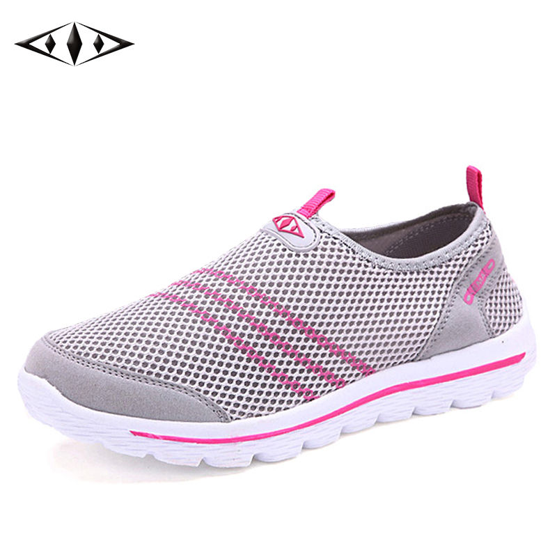 2016 LEMAI Striped Cool Women Sneakers Summer Breathable Lady Mesh Running Shoes Heigh Soft Sole Light Running 007-4