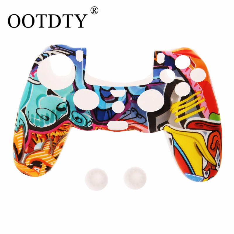 For Playstation 4 PS4 Pro PS4 Multicolor Style Silicone Gamepad Cover Case + 2 Joystick Cap For PS4 Controller