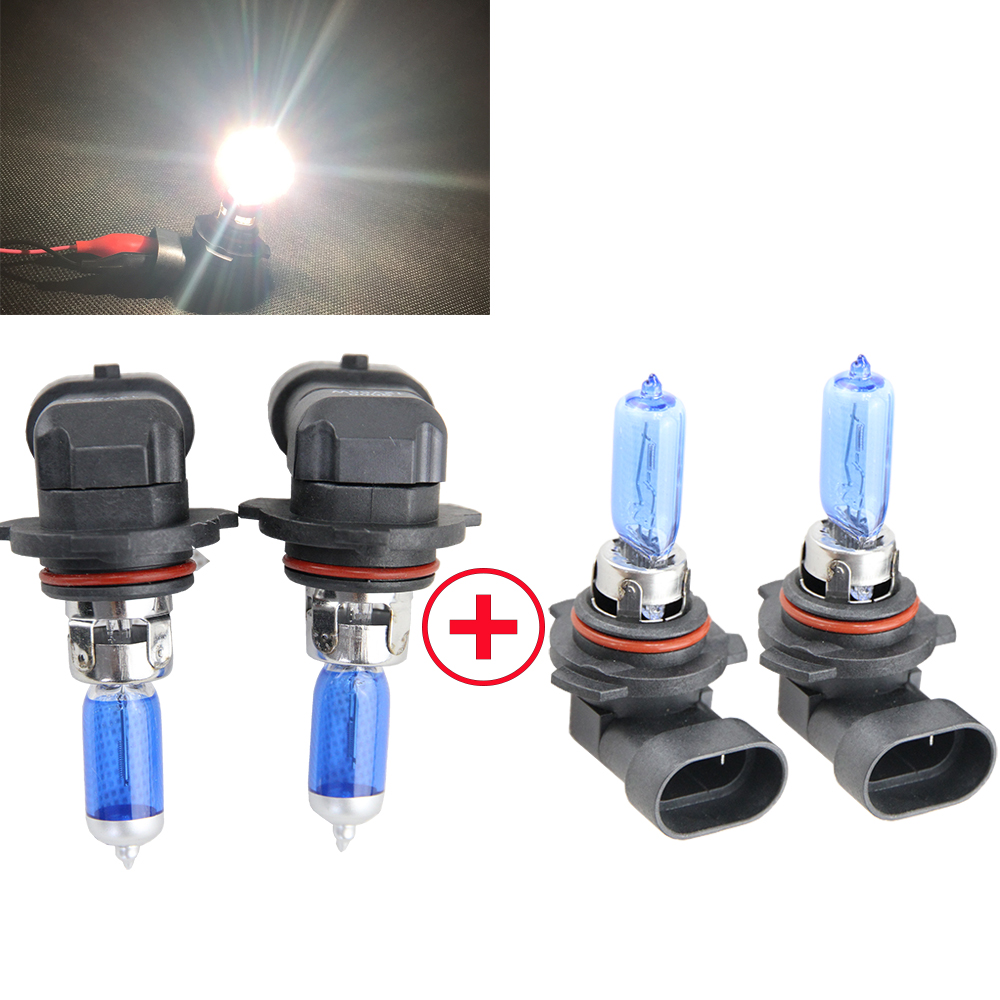 1 Pair 9005 + 1Pair 9006 HB3 HB4 6500K SUPER WHITE 55W 12V Halogen Headlight Bulb Lamps- LOW&HIGH BEAM