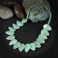 KCALOE Mujeres Verde Jade Collares Waterdrop Piedras Semi-preciosas Joyas de Piedra Natural Hecho A Mano de La Vendimia Collar de la Declaración