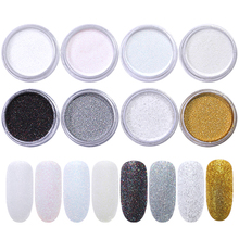 1g/Box Gradient Nail Glitter Powder Holographic Laser Pigment Silver Colorful DIY Art Decoration for Tips