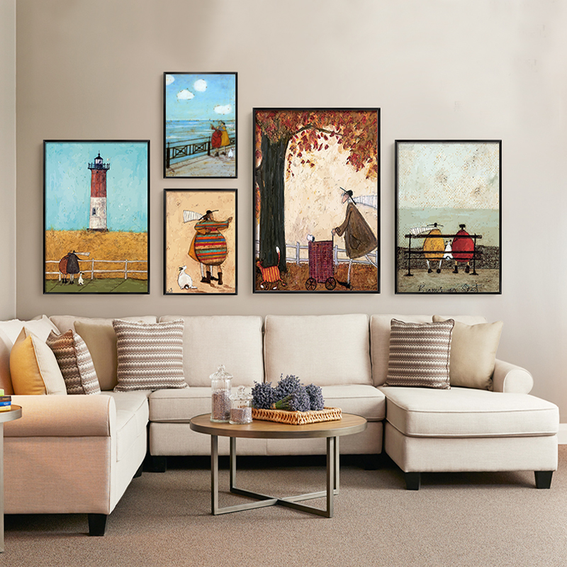 HTB1bsyiBsuYBuNkSmRyq6AA3pXaI Gohipang Happy Family Abstract Love Canvas Painting Vintage Posters Prints Scandinavian Nordic Wall Art Picture For Bedroom Home