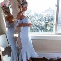 С открытыми плечами короткий рукав в африканском стиле по колено Русалка голубой платья невесты 2019 Новый фрейлина платья JQ154