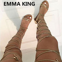 New Sexy Cross Tied Over The Knee Flat Sandals Women Summer Boots Open Toe Cut Out Ladies Casual Shoes Woman Gladiator Sandals
