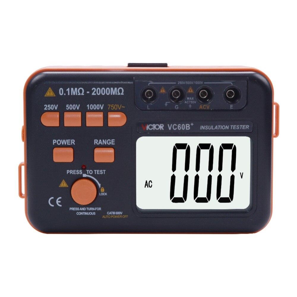 VC60B+ Digital Insulation Resistance Tester Megger Megohmmeter MegOhm DCV ACV Meter DVM 1000V 2G w/ LCD Backlight