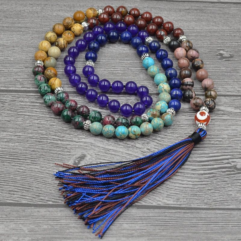 7 Chakra Mala Unique 8mm Pierre Naturelle À Long Gland Collier Femmes Méditation Collier Noué Perle De Yoga Collier Bijoux