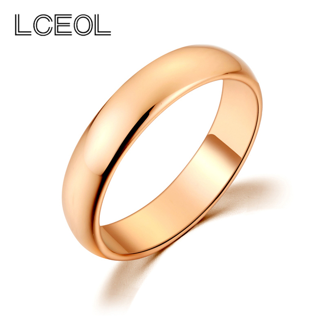 Lceol Clic Design Simple Wedding Bands Rings Gold Color Engagement For Women Men Smooth