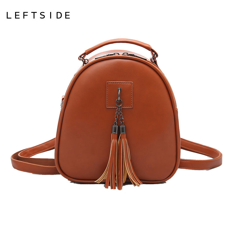 LEFTSIDE Women Fashion Tassel Vintage PU Leather Backpacks school bags for teenage girls Small shoulder bag