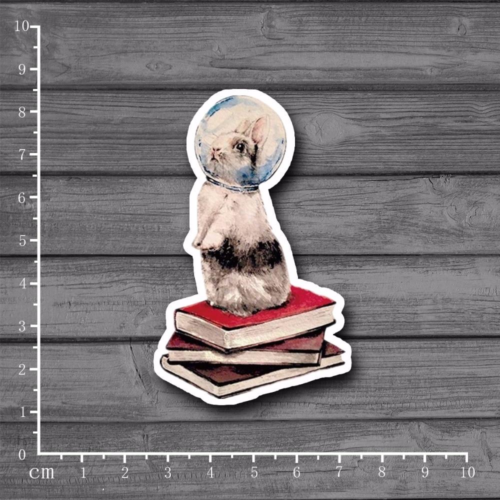 Rabbit Reading Space Cosmonaut Waterproof Suitcase Stickers On Laptop Notebook Kids Toys ...