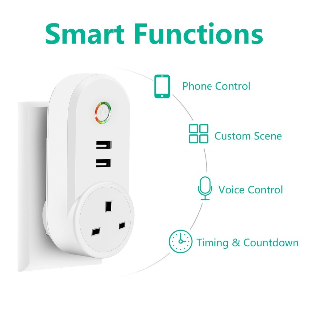 Wifi Remote Control Timing Switch Outlet Smart UK Plug outlet Wireless with 2 USB Socket Timer Power home devices 3Wifi Remote Control Timing Switch Outlet Smart UK Plug outlet Wireless with 2 USB Socket Timer Power home devices 3