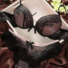 WJ Women Sexy Cotton Embroidery Lingerie Set