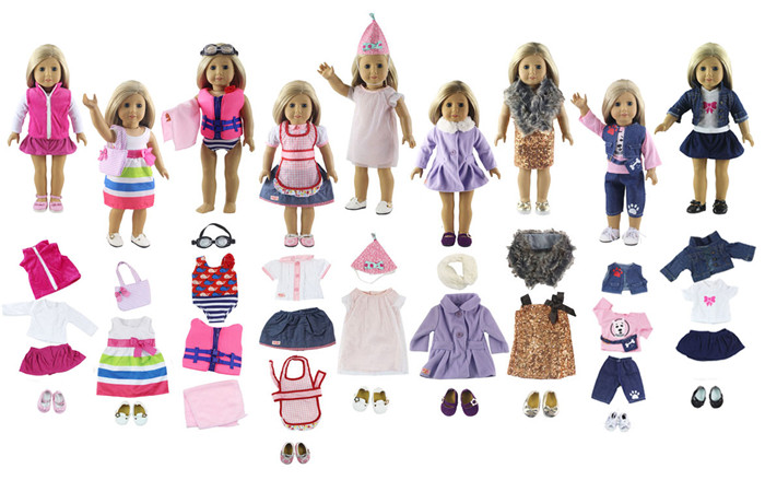 2017 New Style Random Selection 5 Set Doll Clothes for 18 Inch American Girl Handmade A Variety of The Casual Wear Clothes new style 10 set doll clothes for 18 inch american girl handmade casual wear