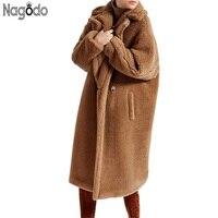 Nagodo teddy coat women 2018 Fashion Winter Thick Faux Fur Coats Causal Loose Plush Coat Long Furry Jacket Lady warm overcoat