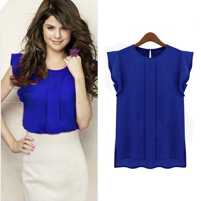 7644b08b4f7 3 colores blusas de mujeres gasa ropa de verano 2019 dama blusa camisa de  venta