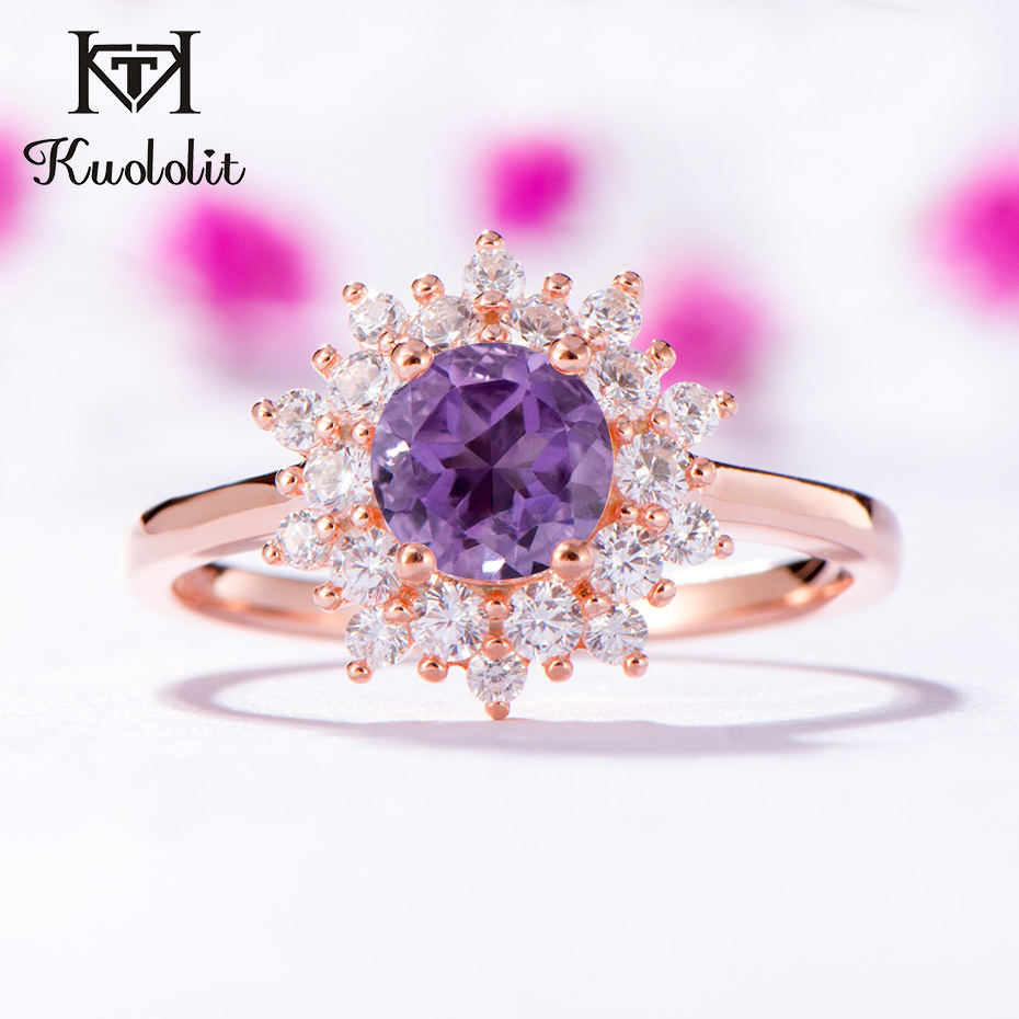Kuololit Natural Amethyst Gemstone Rings for Women 925 Sterling Silver Round Cut Stone Rose Gold Ring Wedding Gifts Fine JewelryKuololit Natural Amethyst Gemstone Rings for Women 925 Sterling Silver Round Cut Stone Rose Gold Ring Wedding Gifts Fine Jewelry