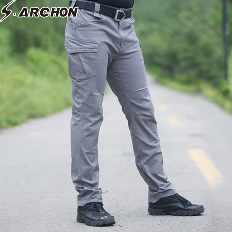 S.ARCHON Tactical Cargo Pants Men Cotton Multi Pocket Military Army Pants Casual Slim Elastic Breathable SWAT Combat Trouser men military tactical outdoor shirts 100% cotton breathable long sleeve shirt army multi pockets swat shooting urban sports
