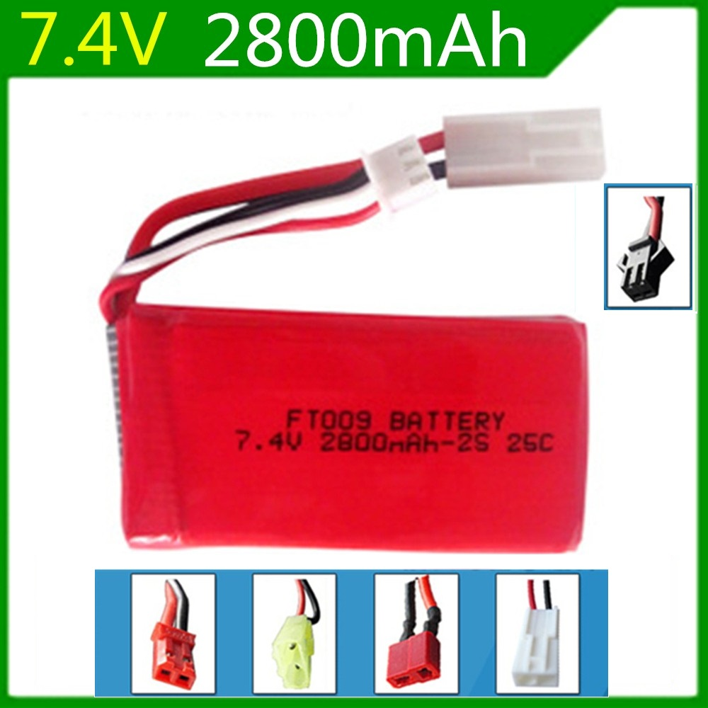 Free Shipping  7.4V Li-po Battery 2800mAh 25C FT009 for RC Yacht RC Airplane RC Car Rechargeable with SM,JST,EL 2P,Banana,T PlugFree Shipping  7.4V Li-po Battery 2800mAh 25C FT009 for RC Yacht RC Airplane RC Car Rechargeable with SM,JST,EL 2P,Banana,T Plug