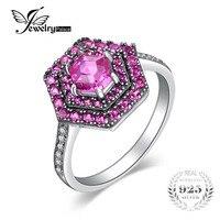 JewelryPalace Hexagon Cut 2.1ct Gecreëerd Roze Saffier Ring 925 Sterling zilver fijn of fashion ring beste cadeau voor vrouwen hot verkopen