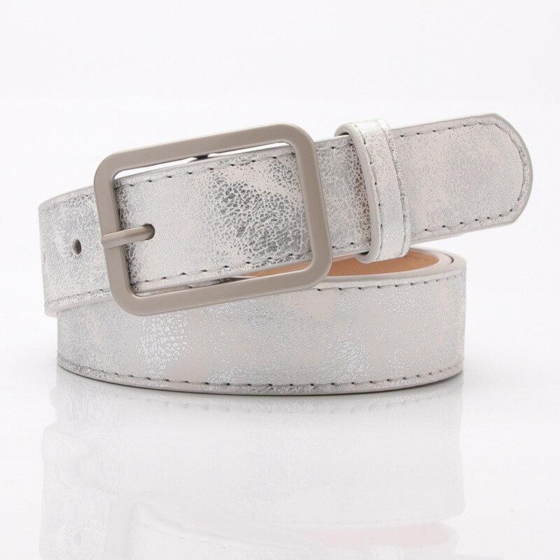 Women Female Fashion Vintage Metal Embossing Belts Alloy Buckle Shiny  Holographic  Waist Belts Women Luxury Brand Designerbelt