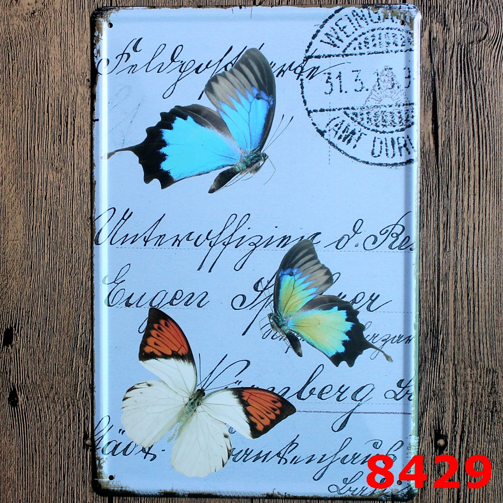 beautiful butterfly pattern decorative metal art plates vintage tin signs bar shop bedroom decorative wall plaque - Bedroom Wall Plaques