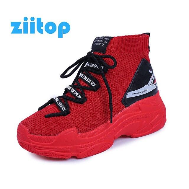 Czerwony rekin trampki dla kobiet mężczyzn Chunky Sneaker