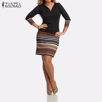 ZANZEA 2017 Spring Women Long Sleeve V Neck Pencil Dress Casual Color Stripe Patchwork Package Hip