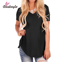 Dasbayla Basics T Shirt Women 2018 Casual Asymmetric Hem V Neck Loose fit Short Sleeve Solid Long Tee Shirt Tops Female t-shirt(China)