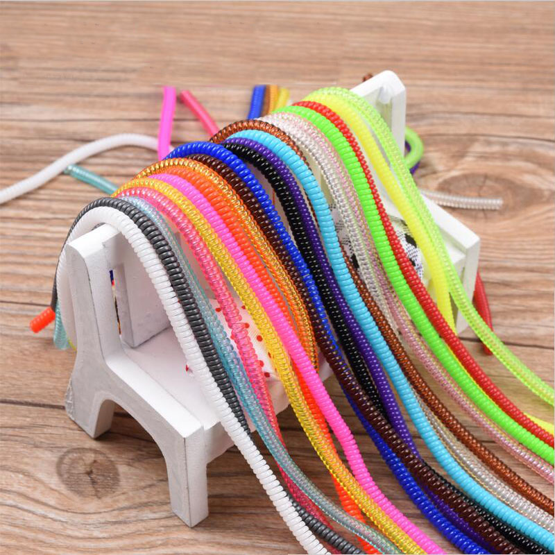 100pcs lot Bobbin winder Colors Data Cable Protector Sleeve Spring twine For Iphone Android USB Charging earphone Case Cover