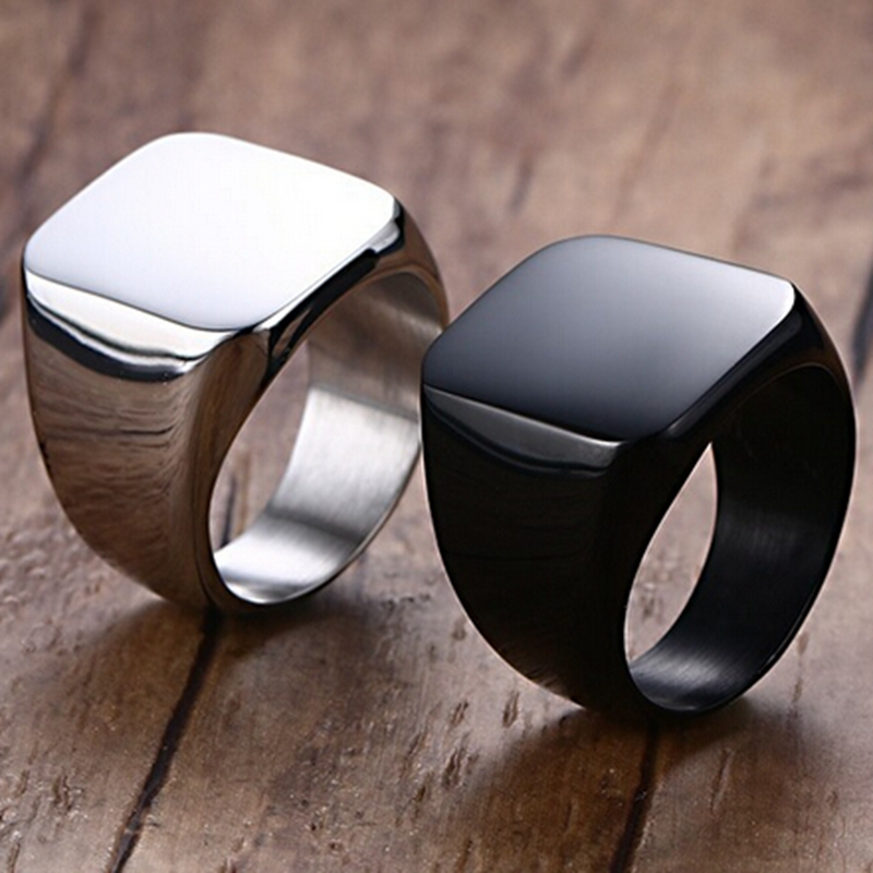 Size 4-15 Black Stainless Steel Signet Ring Cocktail Punk Biker Classic Simple School Graduation Father's Day Gifts 6mm women men classic brushed pure titanium wedding band ring for school graduation cocktail size 4 12 anel de formatura