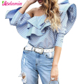 One Shoulder Ruffle Blouses And Shirts Women 2017 Elegant Blue Striped Off Shoulder Tops Female Shirt Long Sleeve Ruffle Top