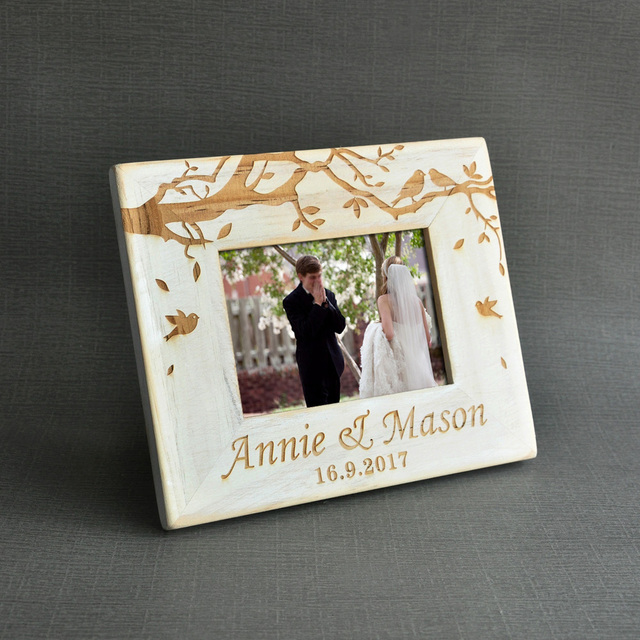 Vintage Wedding Photo Frame Custom Wooden Wedding Couple Pictures