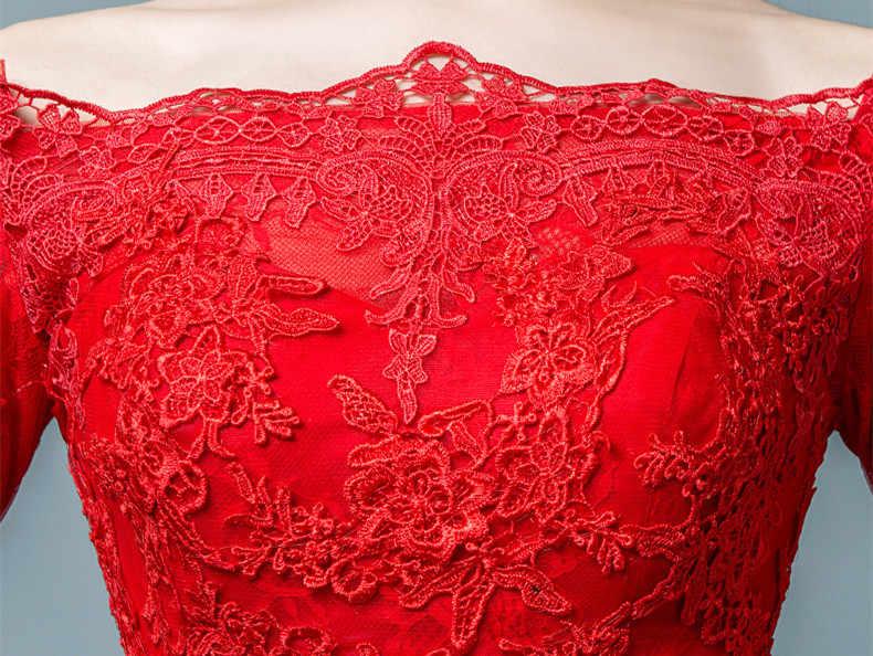 JaneVini VestidosสีแดงT Ulleแม่ของเจ้าสาวเมอร์เมดลูกไม้ปักชุดราตรีอย่างเป็นทางการกับแขนกวาดรถไฟ