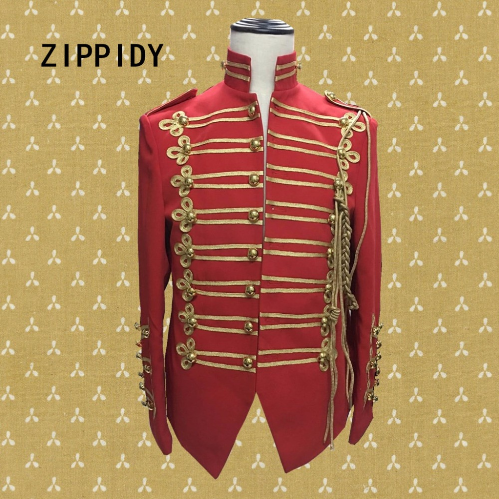 Gold Button Decorate Embroidery Epaulet Men Red Jacket Nightclub Model Singer Dancer Individuality Coat Stage Prom Show Costume