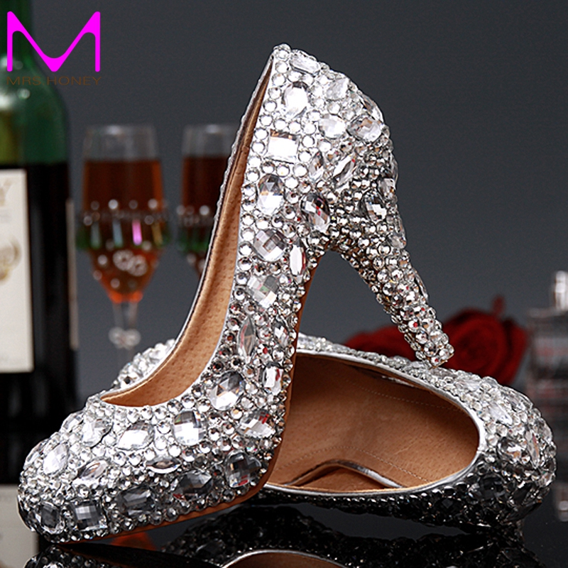 luxury graduation prom shoes high heel silver