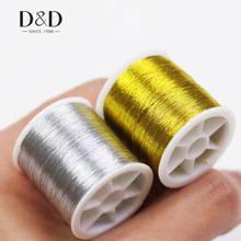 D & D Gold / Silver 109 Yards Slitesterkt Overlocking Symaskin Tråder Polyester Cross Stitch Sterke Tråder for Sy Supplies