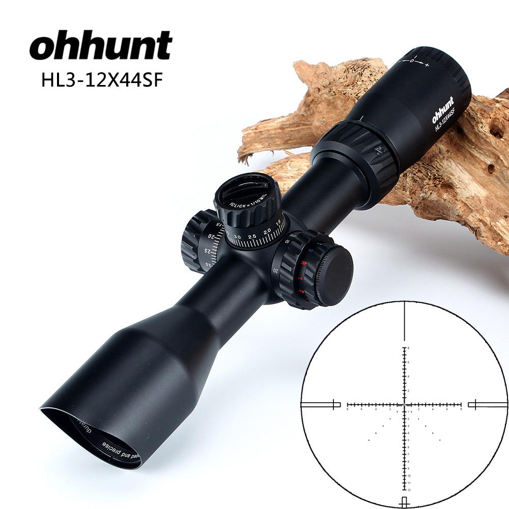 ohhunt HL 3-12X44 SF Hunting Riflescope Glass Etched Reticle RGB Illuminated Rifle Scope Side Parallax Tactical Optics Sight sniper tactical wkp 1 5 6x44sal riflescope glass etched reticle hunting optics sight with rg illuminated with bubble level scope