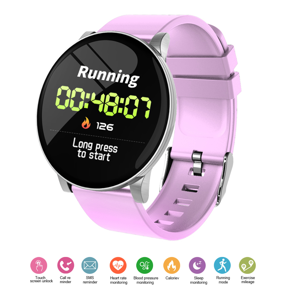 Fashion W8 Color Screen Smart Bracelet Blood Pressure Heart Rate Monitoring fitness Tracker Weather Forecast watch Pink
