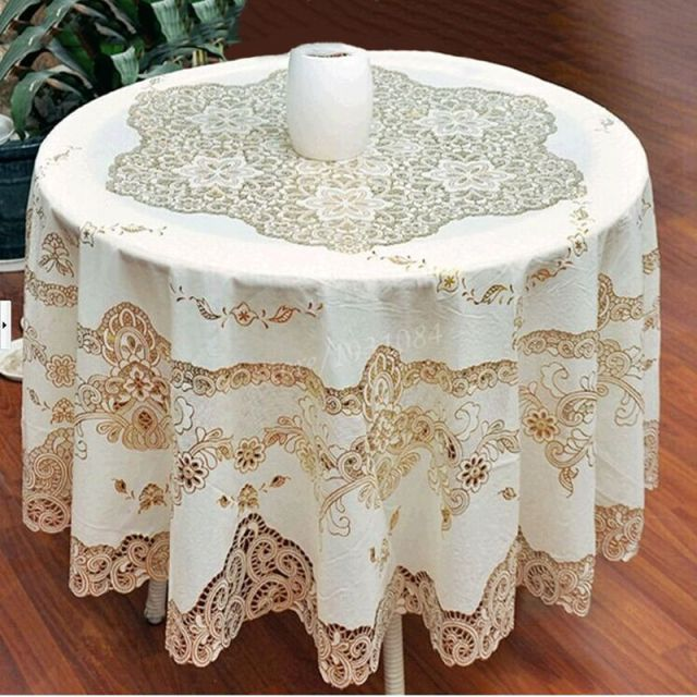 Delightful European Style Gold Sequin Round Tablecloth Overlay Table Cloth For Wedding  Hollow Crochet Lace PVC Tablecloths