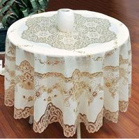 European Style Gold Sequin Round Tablecloth Overlay Table Cloth For Wedding Hollow Crochet Lace PVC Tablecloths Nappe De Table
