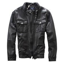 Бесплатная доставка 2017 мужские черные из натуральной овчины кожаные пальто Стенд воротник Slim Fit Модные Для мужчин зимние Повседневное настоящие кожаные пальто
